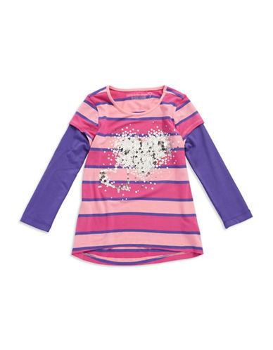 DESIGN HISTORYGirls 2-6x Sequin Accented Striped Top