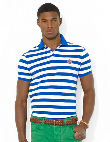 POLO RALPH LAUREN Classic-Fit Heritage Crest Striped Mesh Polo Shirt