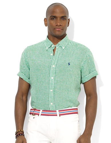POLO RALPH LAURENClassic-Fit Short-Sleeved Checked Linen Sport Shirt