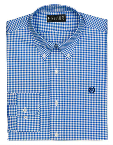 LAUREN RALPH LAURENRegular Fit Checked Broadcloth Crest Dress Shirt
