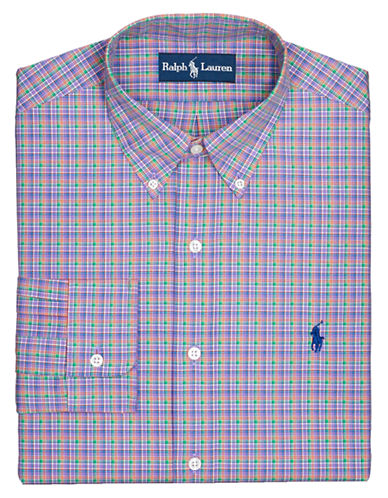 POLO RALPH LAUREN Fitted Checked Broadcloth Button-Down Dress Shirt
