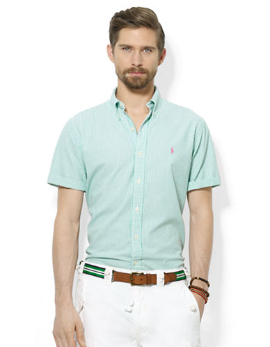POLO RALPH LAURENClassic-Fit Short-Sleeved Striped Seersucker Shirt