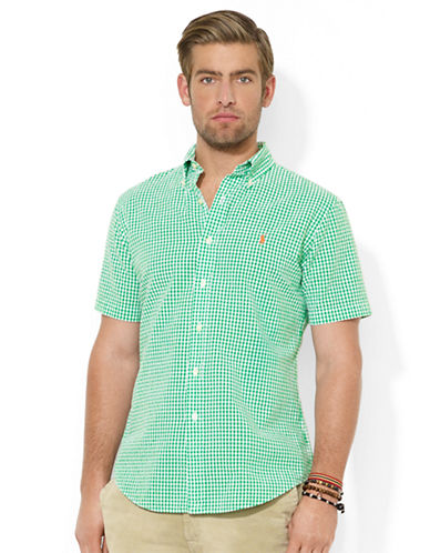 POLO RALPH LAUREN Classic-Fit Short-Sleeved Checked Seersucker Sport Shirt
