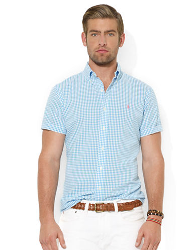 POLO RALPH LAURENClassic-Fit Short-Sleeved Checked Seersucker Sport Shirt