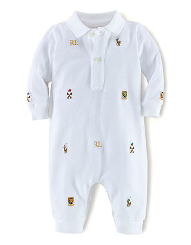 RALPH LAUREN CHILDRENSWEARBaby Boys Baby Boys Equestrian Embroidered Mesh Coveralls