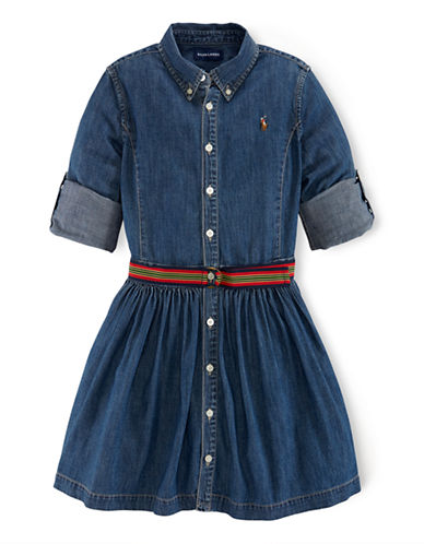 RALPH LAUREN CHILDRENSWEAR Girls 7-16 Grosgrain-Belted Denim Shirtdress