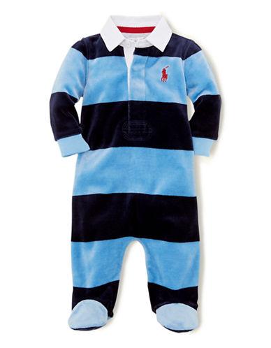 RALPH LAUREN CHILDRENSWEARBaby Boys Velour Striped Coveralls