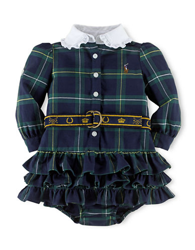 RALPH LAUREN CHILDRENSWEAR Baby Girls Plaid Cotton Oxford Shirtdress