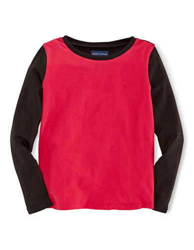 RALPH LAUREN CHILDRENSWEAR Girls 2-6x Colorblocked Long Sleeve Tee