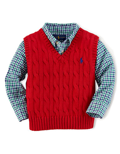 RALPH LAUREN CHILDRENSWEARBaby Boys Cable Knit Vest
