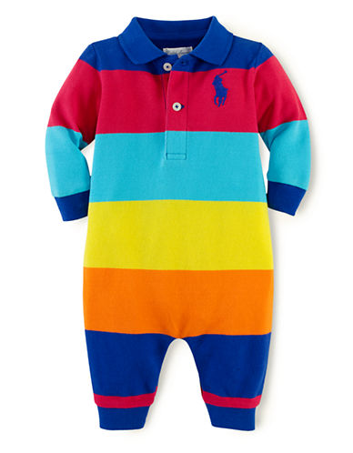RALPH LAUREN CHILDRENSWEARBaby Boys Wide-striped Mesh Coverall