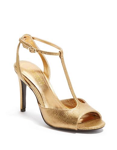 LAUREN RALPH LAURENSedona Metallic Embossed Leather T Strap Sandals