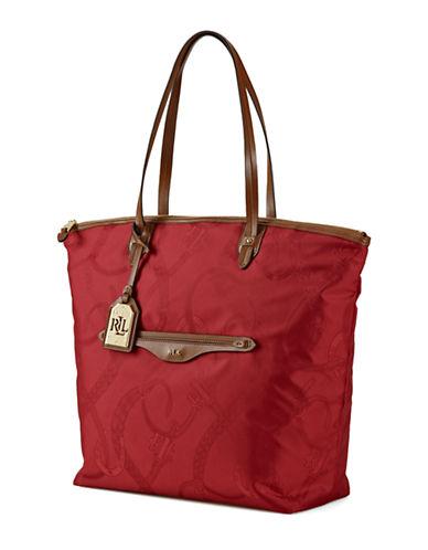 LAUREN RALPH LAURENLeather Trim Equestrian Tote Bag