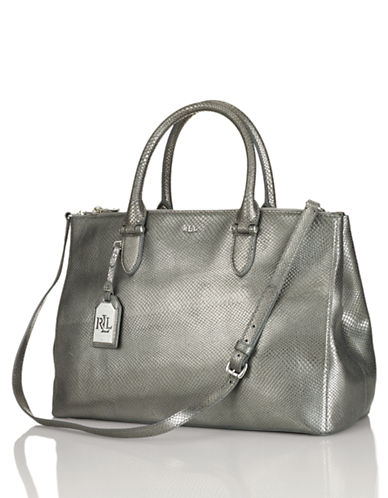 LAUREN RALPH LAUREN Snakeskin-Embossed Leather Satchel