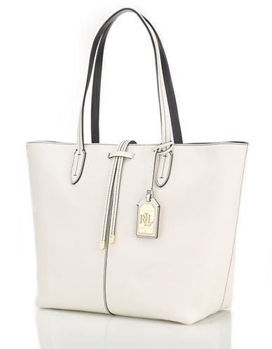 Lauren Ralph Lauren Contrast Stitched Leather Tote