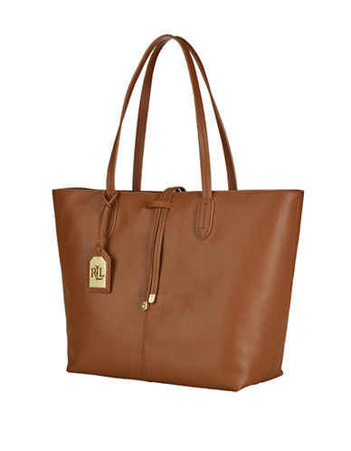 LAUREN RALPH LAUREN Two-Toned Leather Tote