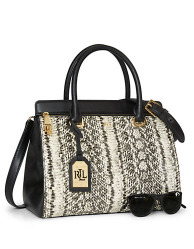 Lauren Ralph Lauren Whitby Snake-Embossed Leather Satchel