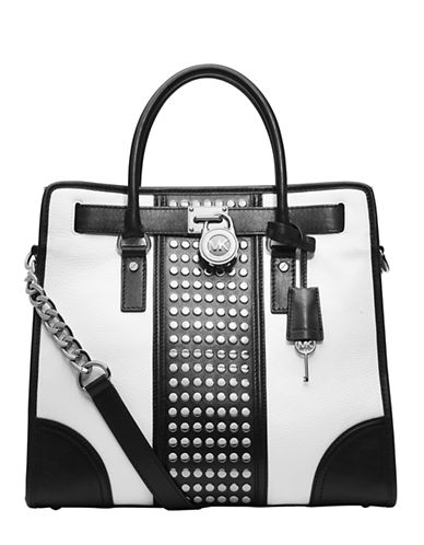 5d9d88fed8c0 ... UPC 888235391168 product image for Michael Michael Kors Hamilton Studded  Leather Large North/South Tote