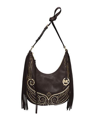 MICHAEL MICHAEL KORS Rhea Leather Studded Slouchy Shoulder Bag
