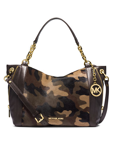 MICHAEL MICHAEL KORS Stanthorpe Leather and Camo Hair Calf Large Satchel