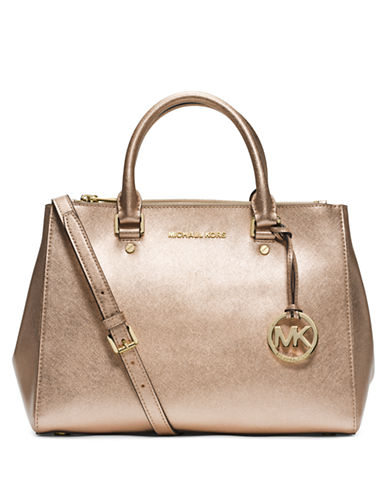 MICHAEL MICHAEL KORS Sutton Metallic Leather Medium Satchel