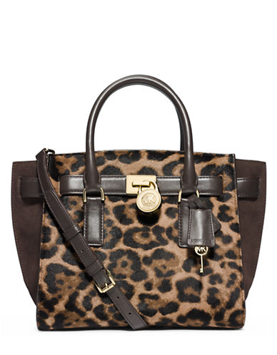MICHAEL MICHAEL KORS Hamilton Leather and Hair Calf Medium Traveler Tote Bag
