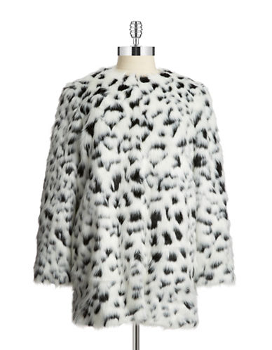 Michael Michael Kors Plus Plus Houndstooth Faux Fur Coat
