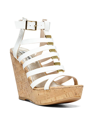 STEVE MADDEN Indyanna Strappy Cork Platform Wedge Sandals