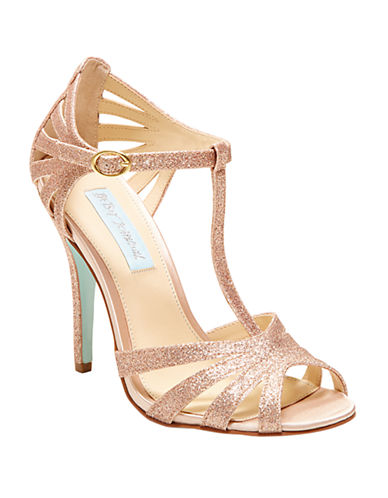 BETSEY JOHNSONTee Glitter Open-Toe T-Strap Sandals