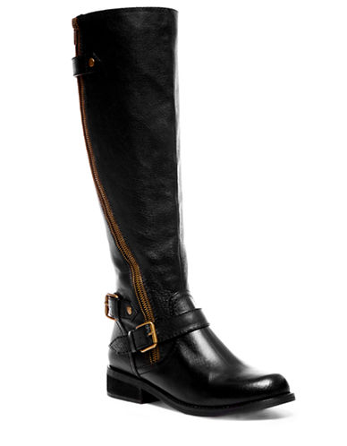 STEVE MADDEN Synicle Leather Tall Zip Boots