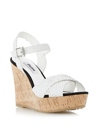 DUNE LONDON Kingdom Patent Leather Wedge Sandals