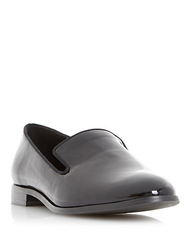DUNE LONDON Gray Patent Leather Slip-On Flats
