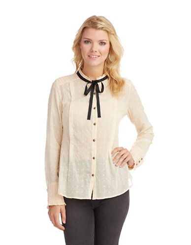 FREE PEOPLE Semi Sheer Dot Blouse with Neck Tie