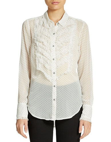 FREE PEOPLE Ruffled Tuxedo Blouse