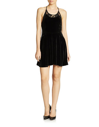 FREE PEOPLEVelvet and Lace Halter Dress