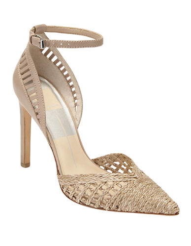 DOLCE VITA Kalila Jute and Leather Ankle-Strap Pumps
