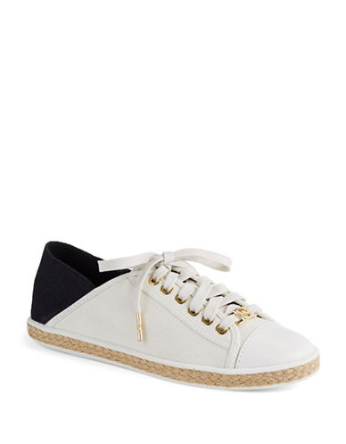 Michael Michael Kors Kristy Lace-Up Canvas and Leather Sneakers