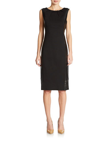 NYDJ Faux Leather Sheath Dress