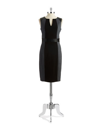 NYDJ Faux Leather Accented Sheath Dress