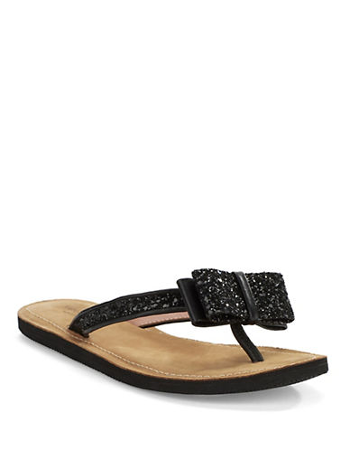 KATE SPADE NEW YORK Icarda Glittered Leather Thong Sandals
