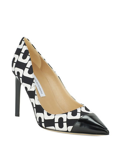 Buy Brae Chainlink Print and Leather Cap Toe Pumps by Diane Von Furstenberg online