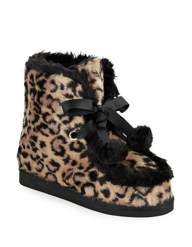KATE SPADE NEW YORKBaven Leopard Print Faux Fur Slippers