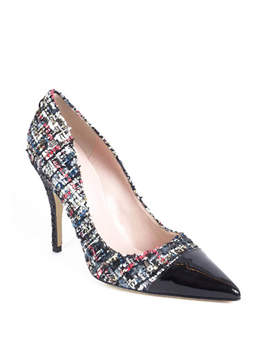 Buy Lacy Tweed and Leather Cap Toe Pumps by Kate Spade New York online
