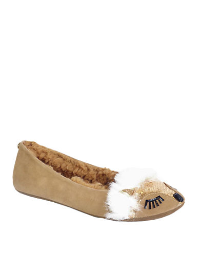KATE SPADE NEW YORKSalena Suede and Faux Fur Slippers