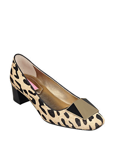 ISAAC MIZRAHI NEW YORK Optiquelee Printed Block-Heel Pumps