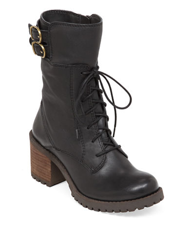 LUCKY BRAND Nylah Leather Mid Shaft Boots