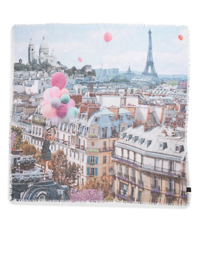COLLECTION 18 Paris Print Scarf with Girl and Balloons