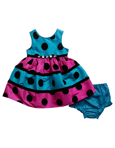 SWEETHEART ROSEBaby Girls Multi-Color Polka Dot and Stripe Dress with Matching Diaper Cover