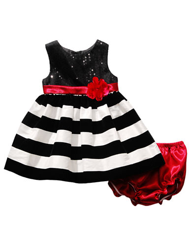 SWEETHEART ROSE Baby Girls Sequin and Stripe Dress with Floral Sash