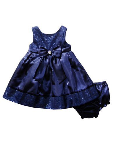 SWEETHEART ROSE Baby Girls Sequined Bow Dress with Matching Diaper Cover